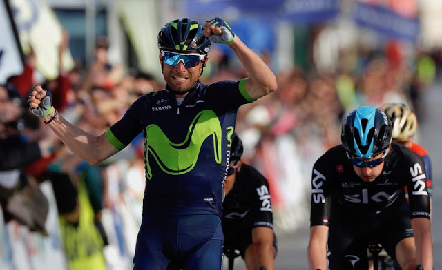 Alexandro Valverde from Movistar Team won the first stage of Ruta del Sol, Vuelta Ciclista a Andalucía 2017