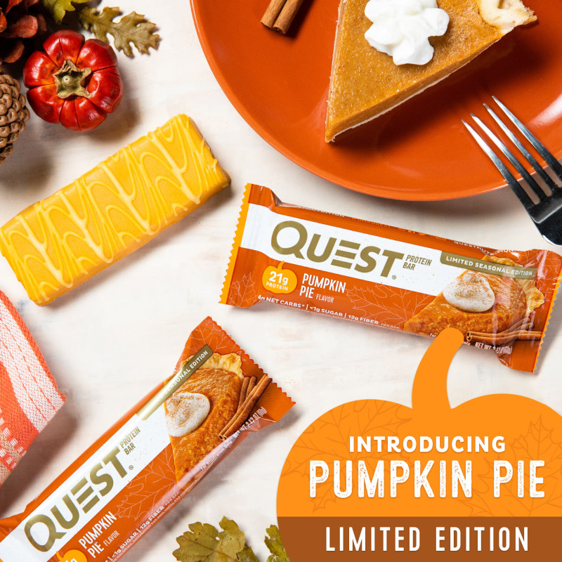 Introducing the Pumpkin Pie flavored Quest Bar, available for a Limited time during fall 2018